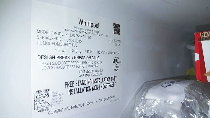 Freezer Whirlpool Repair Model EV205NXTN